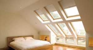 loft conversion into bedroom with windows in roof